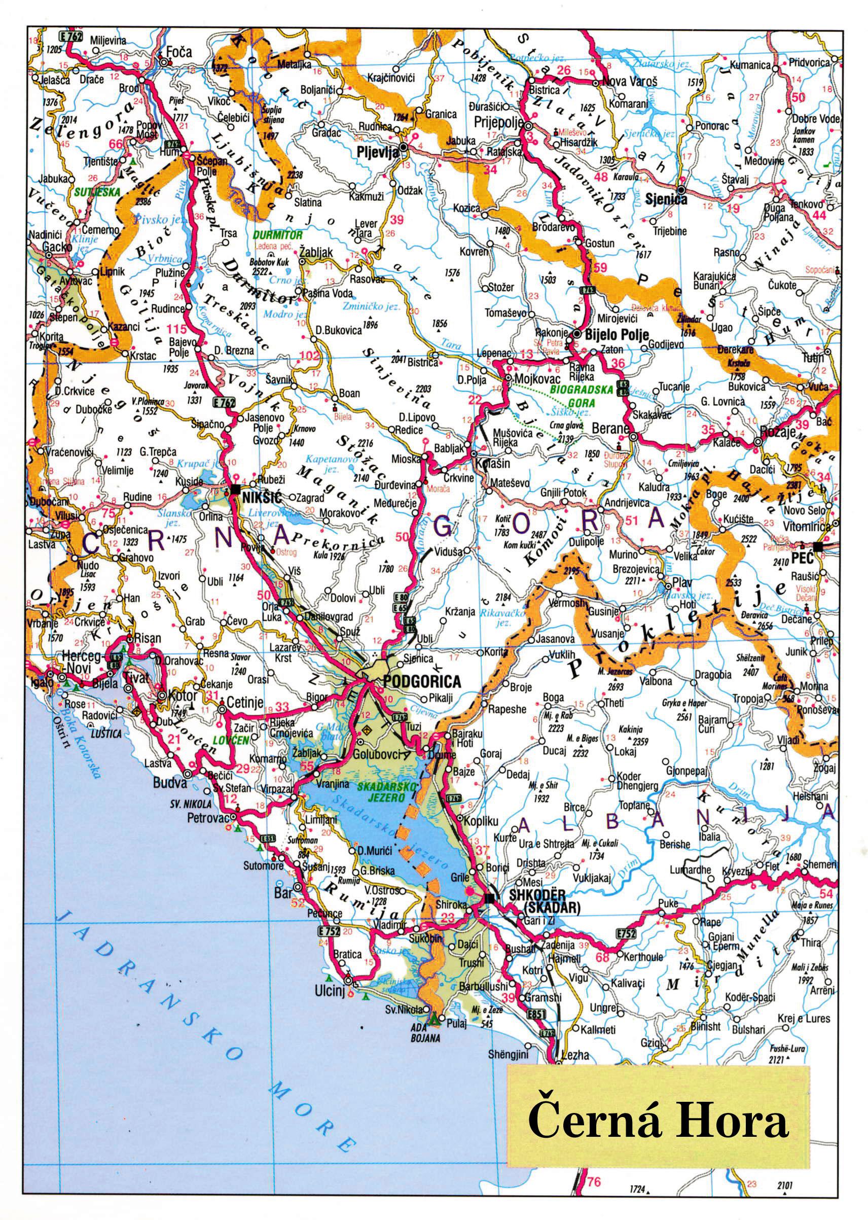 Mapa Cerna Hora
